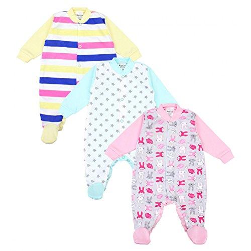 TupTam Unisex Baby Schlafstrampler Baumwolle 3er Pack, Farbe: Mädchen 3, Größe: 74