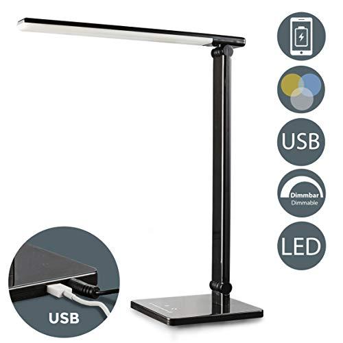 LED Lámpara Escritorio negro de Mesa 5W con USB