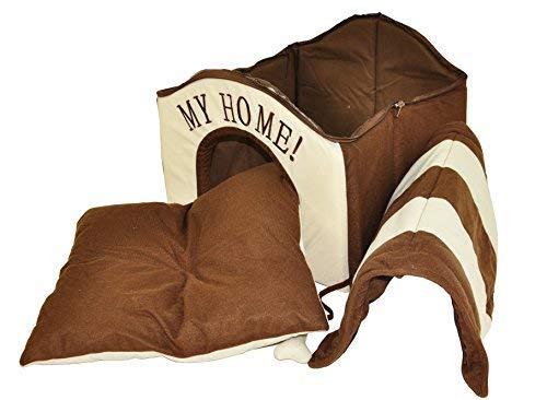 nanook Hunde-Haus Hunde-Höhle TABOU inkl. Kissen, kleine Hunde und Katzen, Größe L, braun weiß, Indoor - 3