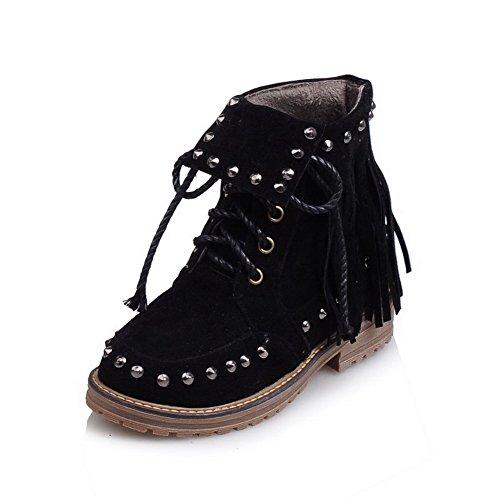 AgooLar Damen Schnüren Niedriger Absatz Nubukleder Eingelegt Niedrig-Spitze Stiefel Schwarz