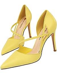 84ca6db4d65a8 Moquite Femme Boucle Sangle Bottines Chaussures Sandales à Talons Hauts Bride  Cheville Sexy Aiguille Fermeture Lacets