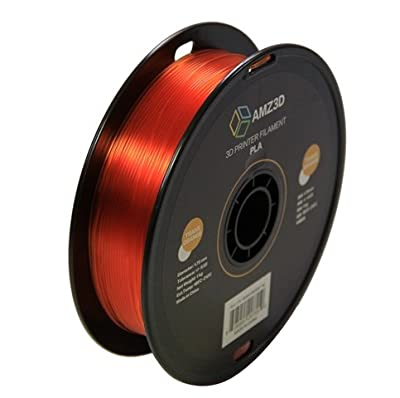 1.75mm Transparent Orange PLA 3D Printer Filament - 1kg Spool (2.2 lbs) - Dimensional Accuracy +/- 0.03mm