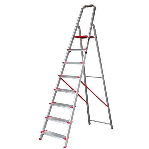 Escalera de Tijera de Aluminio Peldaño Ancho 12 cm 8 Peldaños con Ancho 12 cm