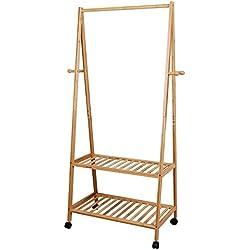Songmics Perchero de bambú Zapatero Colgador ropa Estantería de 2 baldas 4 ruedas para prendas Soporte para colgar ropa Estilo RCR52N