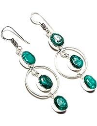 a5e286c7dbac Pendientes de plata de ley 925 chapados en plata de ley 925 con diseño de  esmeralda