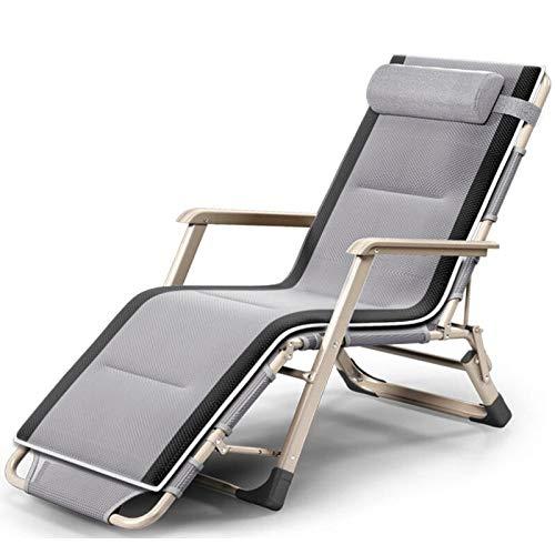 ZRKZ Klappbarer Sessel Mit Kissen Einzel-Mittagspause Klappstuhl Outdoor-Freizeit Strandkorb Büro Klappbett Mit 120 Kg,Grey(B)-178 * 66 * 38CM