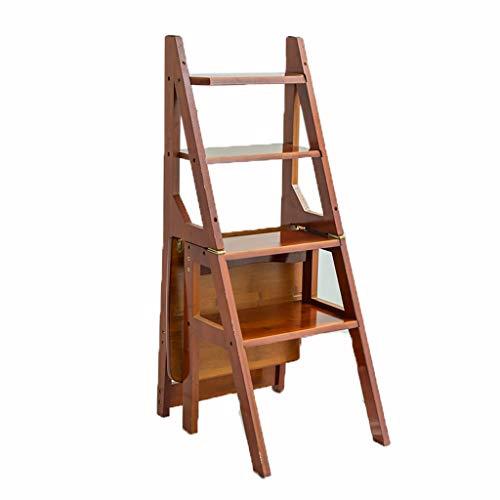 C-J-Xin Mehrzweckleiter, Vier-Schritt-Lagerleiter Wohnzimmer Klappstuhl Größe 41 * 46 * 90CM Haushaltsleiter (Farbe : Brown, größe : 41 * 46 * 90CM)
