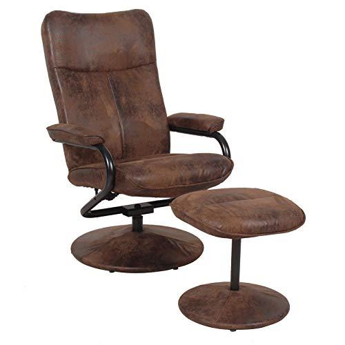 CARO-Möbel Relaxsessel Fernsehsessel Dakota mit Hocker im Wildleder Look braun 360 Grad drehbar