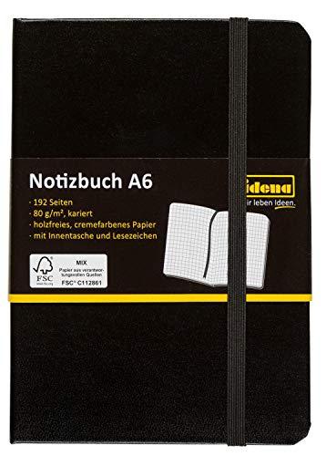 Idena 209282 Notizbuch FSC-Mix, A6, kariert, Papier cremefarben, 96 Blatt, 80 g/m², Hardcover in schwarz, 1 Stück