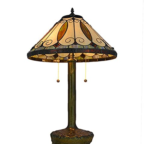 Neu gestaltete Tischlampe, Nuomeiju @ NMJ040, Bronze Fertig, Nostalgischen Stil mit Metall und Glasmalerei Schatten