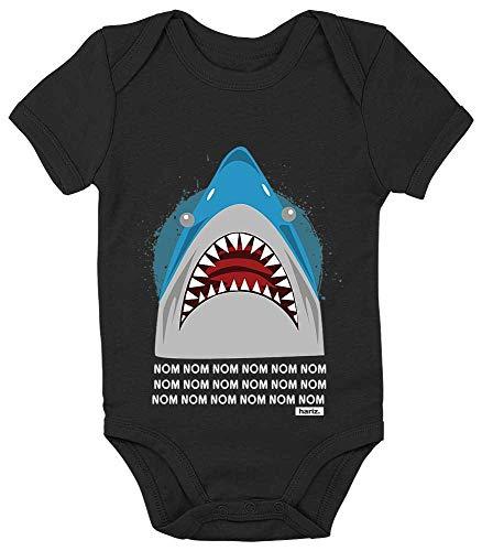 Links Hai Kostüm - HARIZ Baby Body Kurzarm Hungriger Hai Tiere Zoo Plus Geschenkkarten Pinguin Schwarz 12-18 Monate