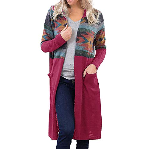 Cloom cardigan donna invernale elegante donna stampa geometrica outwear patchwork cappotto cardigan con cappuccio maglione donna invernale eleganti tumblr giacca donna pullover (rosa caldo,large)