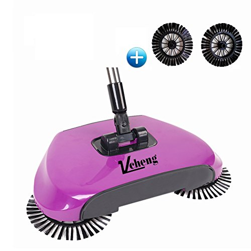 3 in 1 Haushalt Lazy Automatik Hand Push Kehrmaschine Besen Roboter, 360 Grad Rotary Reinigungsmaschine Easy Sweep Ohne Elektro Dustpan Dustpan Mülleimer (Lila)