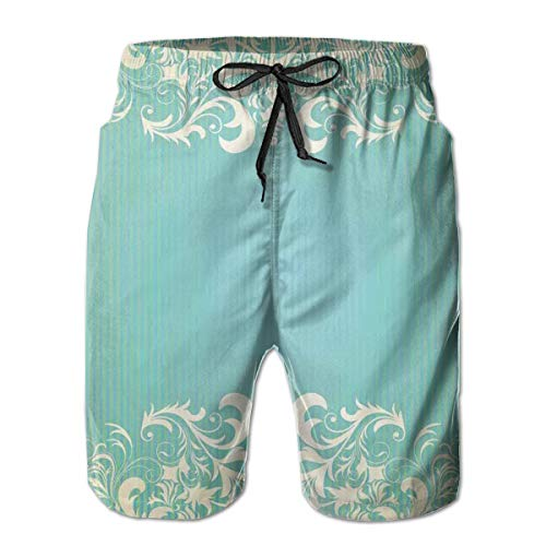 MIOMIOK Mens Beach Shorts Swim Trunks,Old Fashioned Frame with Grungy Ancient Floral Curlicues Baroque Revival Motifs,Summer Cool Quick Dry Board Shorts Bathing SuitXXL Old Navy Floral Dress