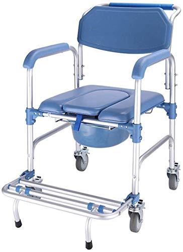 TF Deluxe WC Sicherheit, Mit Rädern Versehenen Badezimmer Bad Autopflege Auto Alt Klobrille Spülung Stuhl Mit Rad Sitztoilettensitz Duschklapphocker (Color : Blue) -