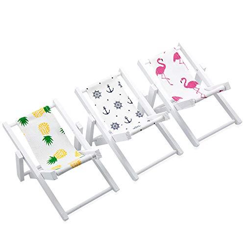 Vordas 3 Pezzi Sedia da Spiaggia in Miniatura in Legno, Mini Doll House Pieghevole in Legno Sedia Utilizzato Come Supporto per Telefono Cellulare, Ornamento