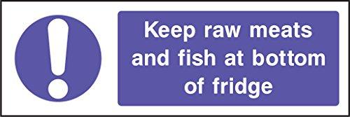 Lebensmittelverarbeitung Sicherheit Aufkleber rohes Fleisch und Fisch an der Unterseite