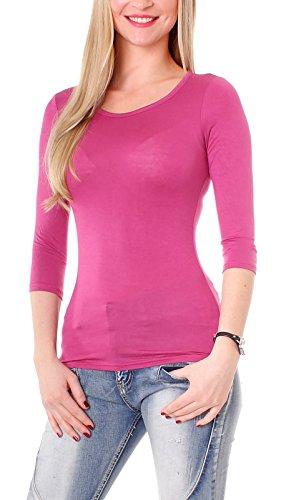 Damen 3-4 Arm Basic Rundhals Shirt Sleeve 3/4 Ärmel in vielen Farben T-Shirt Langarm einfarbig - Beere S-36