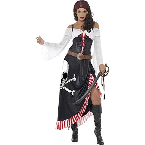 NET TOYS Piratenkostüm Damen Piratin Kostüm L 44/46 Piratinnenkostüm Seeräuber Verkleidung Piratenbraut Kleid Freibeuter Faschingskostüm