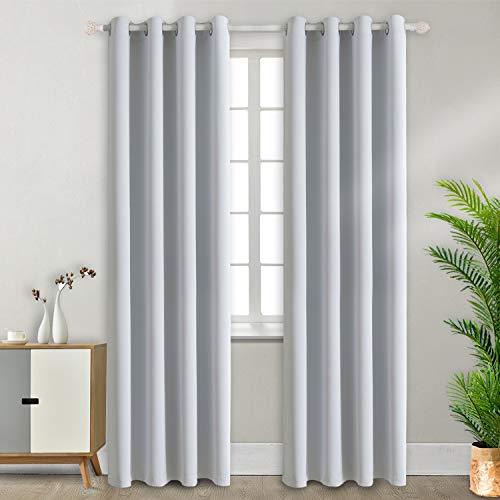 2er Set Gardinen Vorhang Grau-Weiß Blickdicht mit Ösen,Doppelpack Verdunklungsvorhänge Verdunkelungsgardine,228 x 117 cm (H x B),leicht schwere Vorhänge Wohnzimmer Schlafzimmer