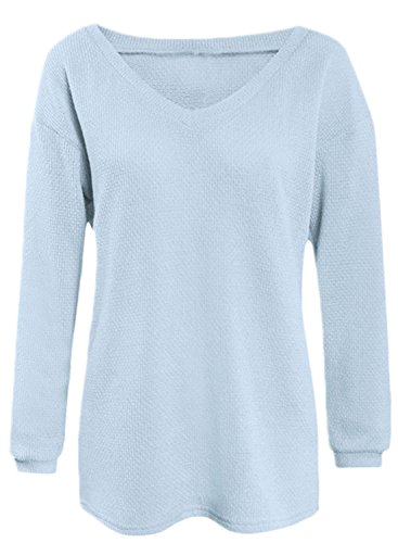 ACHICGIRL Women's V Neck Loose Fit Sweater blue