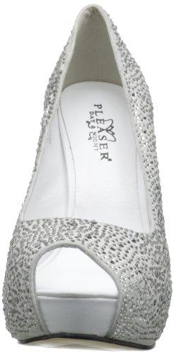 Pleaser Prestige 16 - Scarpa da donna a décolleté con tacco altissimo e plateau, colore: Bianco/strass Bianco (bianco)