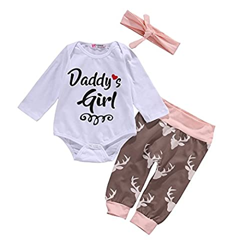 Neugeborenes Baby Top Strampler + Deer Hosen Gamaschen Stirnband 3pcs Outfits Set (3-6 Monat)