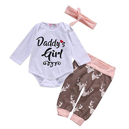 Neugeborenes Baby Top Strampler + Deer Hosen Gamaschen Stirnband 3pcs Outfits Set (0-3 Monat)