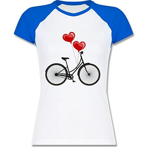 Shirtracer Vintage - Fahrrad Herz Luftballons - Zweifarbiges Baseballshirt/Raglan T-Shirt für Damen Weiß/Royalblau