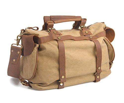 Fourre-tout à bandoulière De haute qualité des femmes des hommes de toile de coton et cuir véritable Voyage Duffle Week-end Satchel d'emballages sac à main à bandoulière bagage à main (Kaki)