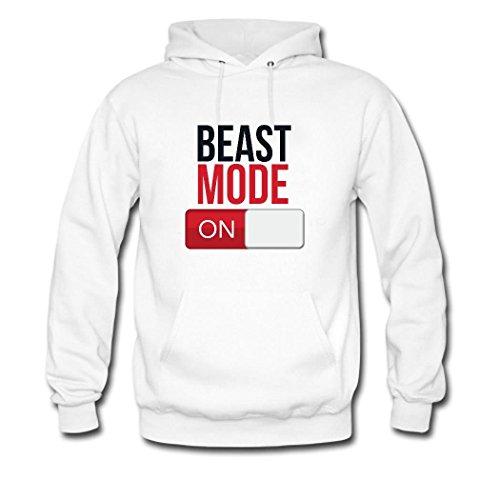 HGLee Printed Personalized Custom Beast Mode On Women's Hoodie Hooded Sweatshirt White