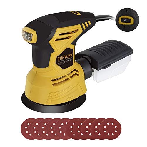 TOPVORK Exzenterschleifer 300W 12000 RPM Schleifmaschine 125mm mit 10er Schleifpapiere, 6 variable Geschwindigkeiten, Staubsammler, ideal zum Schleifen, Schlichten und Polieren von Holz