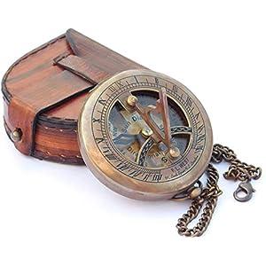 Neo Messing-Sonnenuhr-Kompass mit Lederetui und Kettenknopf