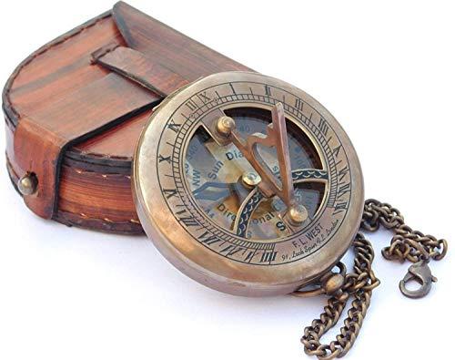 Neo Messing Sonnenuhr Kompass mit Leder Fall und Kette Push Button