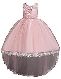 814eade63 Feicuan Vestido de Fiesta de Boda Especial Alta Baja Vestidos de Princesa  de Encaje Flores para Bebe Niñas 1-14…