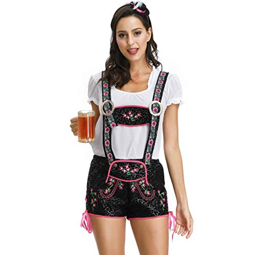 Writtian Damen Halloween Bayerisches Bierfest Kostüme Frauen Oktoberfest Karneval Trachtenkleid Mittelalter Vintage Puffärmel Maidservant Kleid Cosplay Kostüm Mini Dirndl Kleid (Frauen Kostüm Selbstgemacht)