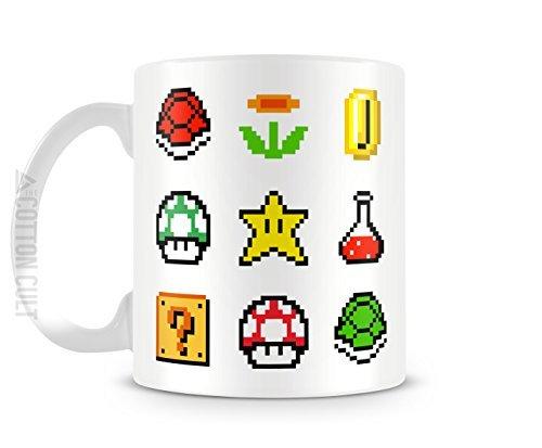Super Mario Bros 8 bit de seta de poción especial para taza 11 oz tazas de café de cerámica taza de porcelana consolas de Nintendo
