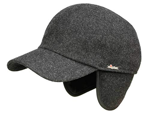 Wigens Kent Melton Baseballcap mit Ohrenklappen aus Wolle - Anthrazit (907) - 58 cm