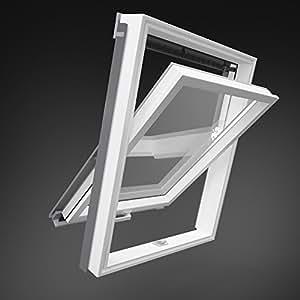 98 x 55 Cm en plastique de solstro fenêtre de toit avec raccordement d'étanchéité pour tuiles provient directement du fabricant-plastique pVC-dimensions comme c02, cK02 aussenmasse, 55 x 98 cm