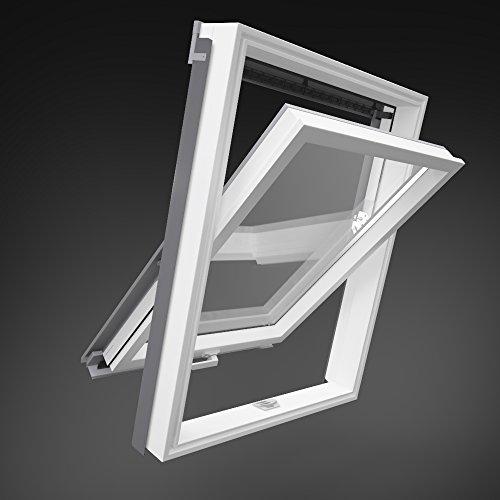 55x98 cm Dachfenster aus Kunststoff von Solstro mit Eindeckrahmen für Ziegel direkt vom Hersteller - PVC - Plastik Maße wie C02, CK02, 55x98 cm Aussenmasse