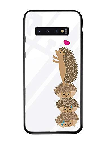 Alsoar ersatz für Galaxy S8 Plus Hülle Transparent Handyhülle Durchsichtig Antikratz Schutzhülle,Gehärtetem Glas Rückseite mit Soft Silikon Rahmen Tier Süß Shell für Galaxy S8 Plus (Igel) -