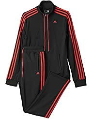 adidas Ess 3S Suit - Chándal para mujer, color negro / rojo, talla 2XS