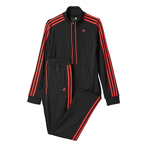 adidas Damen Trainingsanzug Essentials 3-Stripes, schwarz/rot, XS, 4055344488836 (Frauen Anzüge Adidas Sweat)