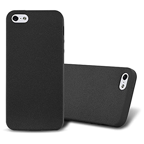 Cadorabo - Ultra Slim TPU Frosted Mate Coque Gel (silicone) pour Apple iPhone 5 / 5S - Housse Case Cover Bumper en FROST-NOIR
