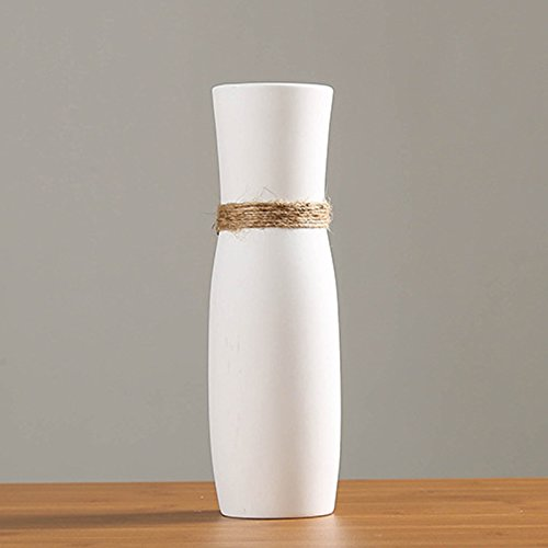 Vases en céramique Blanche, Vase Moderne Design Unique Corde pour la Maison Décor Salon Bureau Cuisine Table Ornem