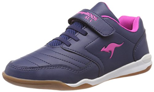 KangaROOS Unisex-Kinder VanderYard Sneaker, Blau (Dk Navy/Daisy Pink), 34 EU