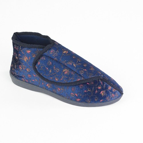 patterson-medical-ladies-patterned-slipper-booties-size-6-blue