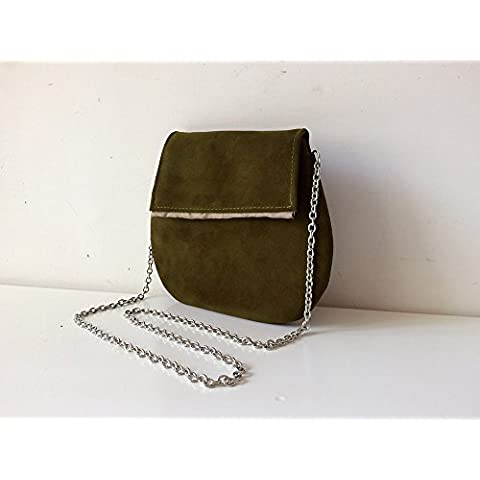 Suede clutch pochette with steel shoulder and internal satin, color green, limited edition BBagdesign.