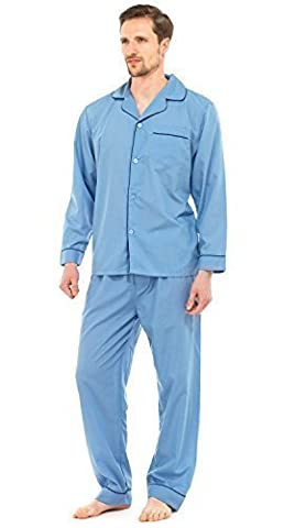Mens Long Traditional Pyjamas 2 Piece Classic Set Hospital Top + Bottoms Nightwear Sleepwear Plain Blue Size