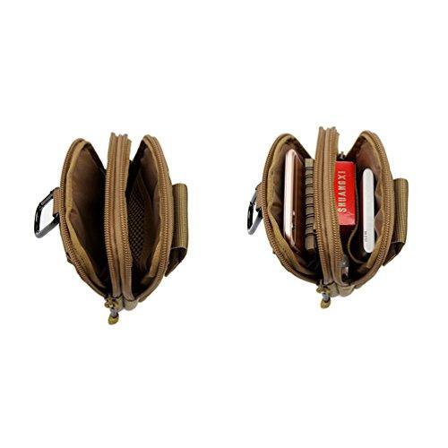 Yisibo Tactical Molle EDC Tasche Kompakt Outdoor Multifunktions-Utility Gadget Tool Gürtel Taille Tasche Pack mit extra Aluminium Karabiner (Braun) Grün